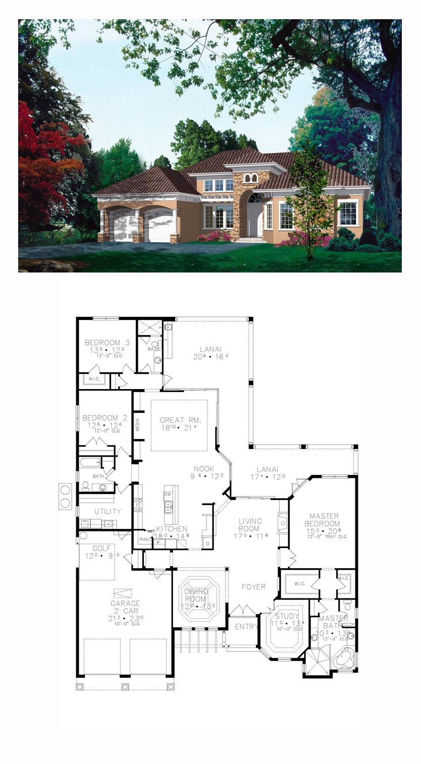 Tuscan Style House Plan 63378 With 3 Bed 3 Bath 2 Car Garage Tuscan House Plans Beach House Plans Architectural Design House Plans