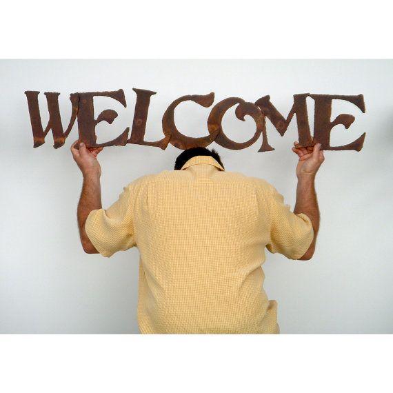 Welcome metal wall art indoor outdoor custom sign - choose your ...