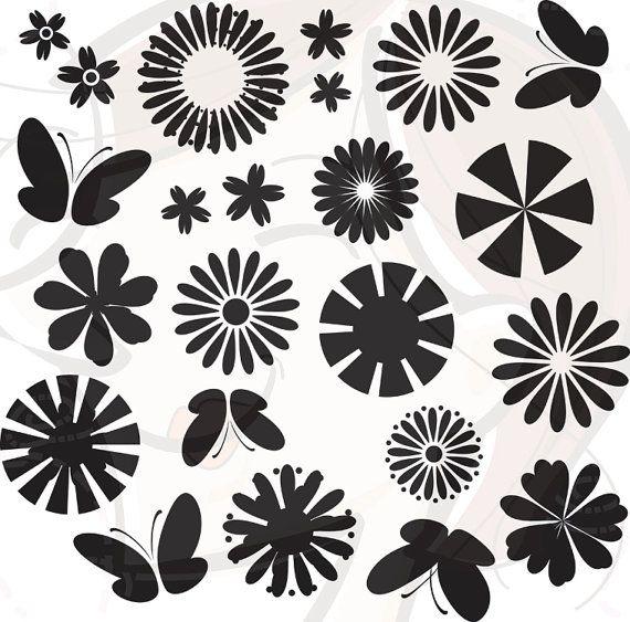 Flower Silhouette Butterfly Clip Art Floral Clipart Black Digital Spring Flowers Scrapbooking Supplies Embellishment DIY Invitations 10178, #DigitalSpringFlowers #ScrapbookingEmbellishment #Embroidery