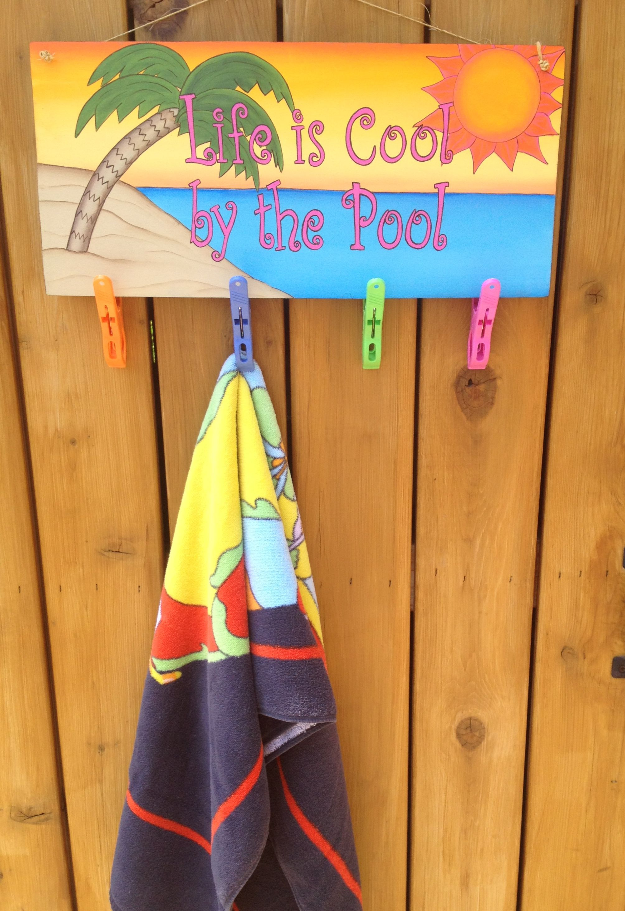 Pool Sign Great Idea For Kids To Hang Their Towels On Use Just Stencil And Paint Though