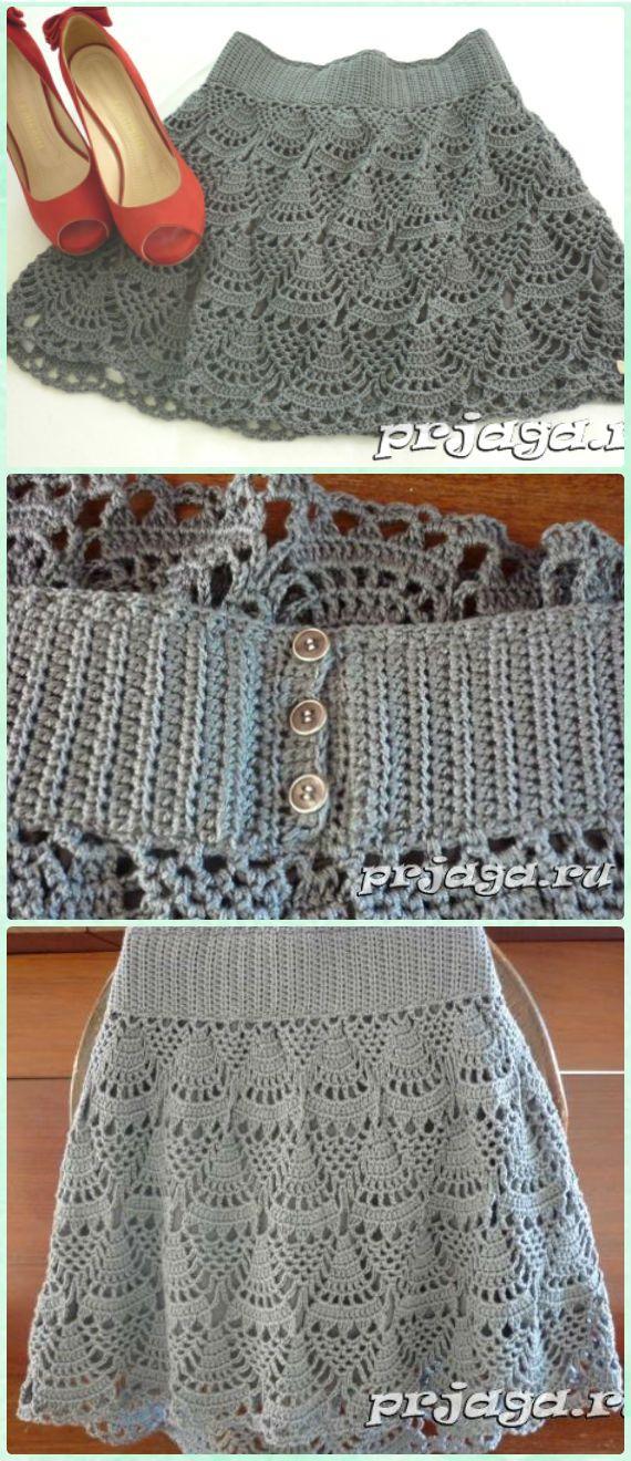 Crochet Women Skirt Free Patterns Instructions | Häkeln, Stricken ...
