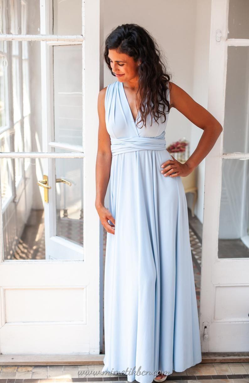 hellblaues brautjungfernkleid hellblauen vielseitig kleid