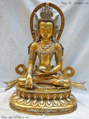 Tibetan Silver Bronze Sakyamuni Buddha Statue