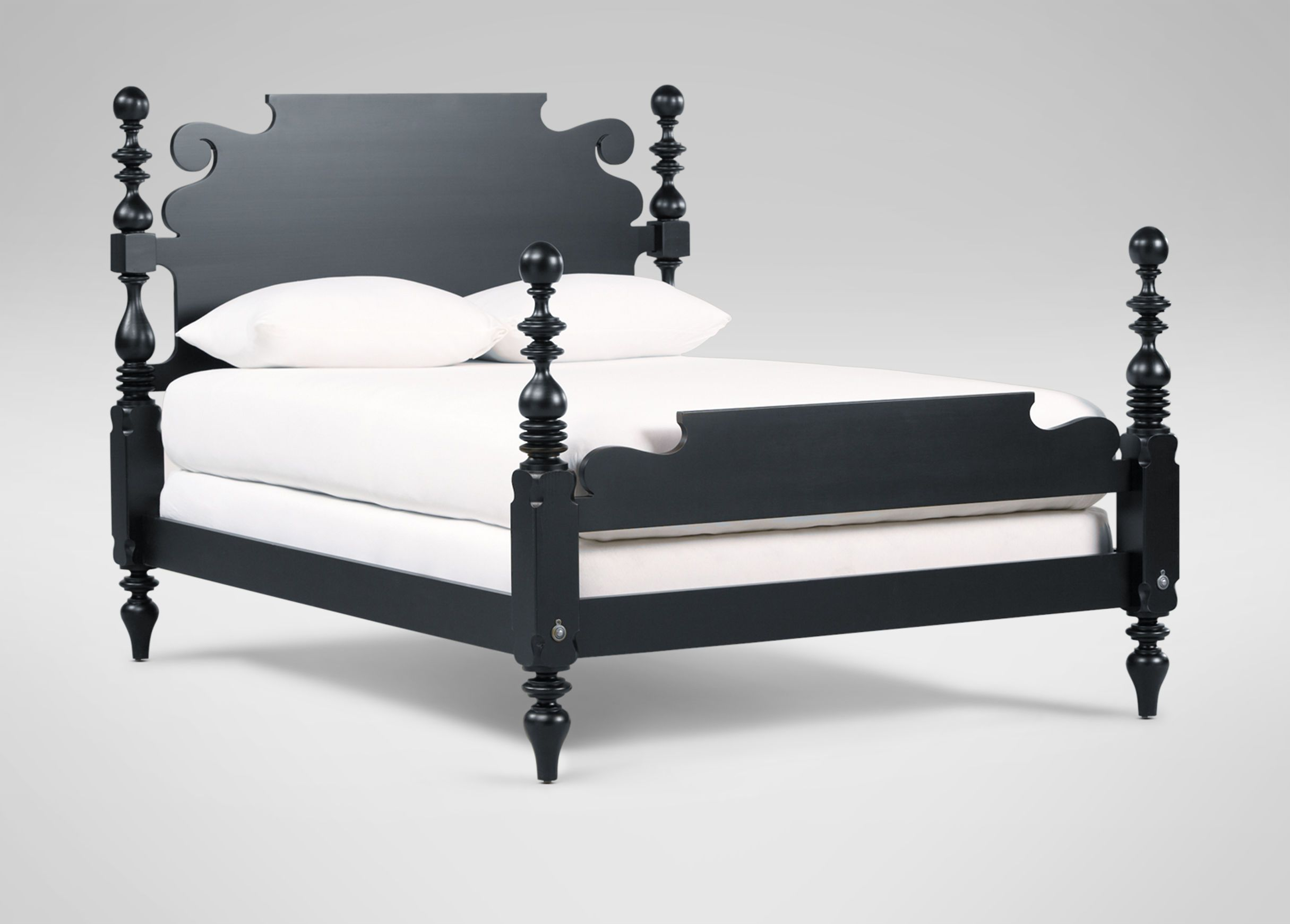 Quincy Bed - Ethan Allen; Cannonball bed, matte black