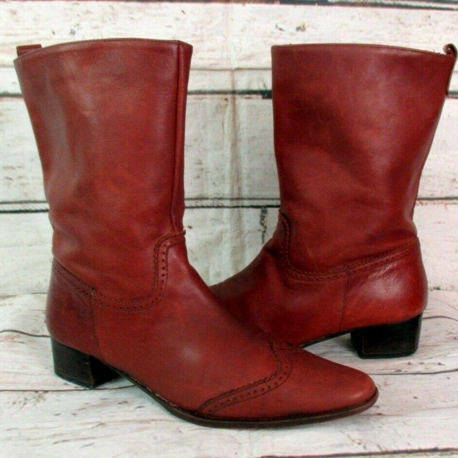 Damen Vintage Leder Stiefel Stiefelette Boots Budapester Slouch Rot Braun Gr 38 Stiefel Stiefeletten Boots Leder