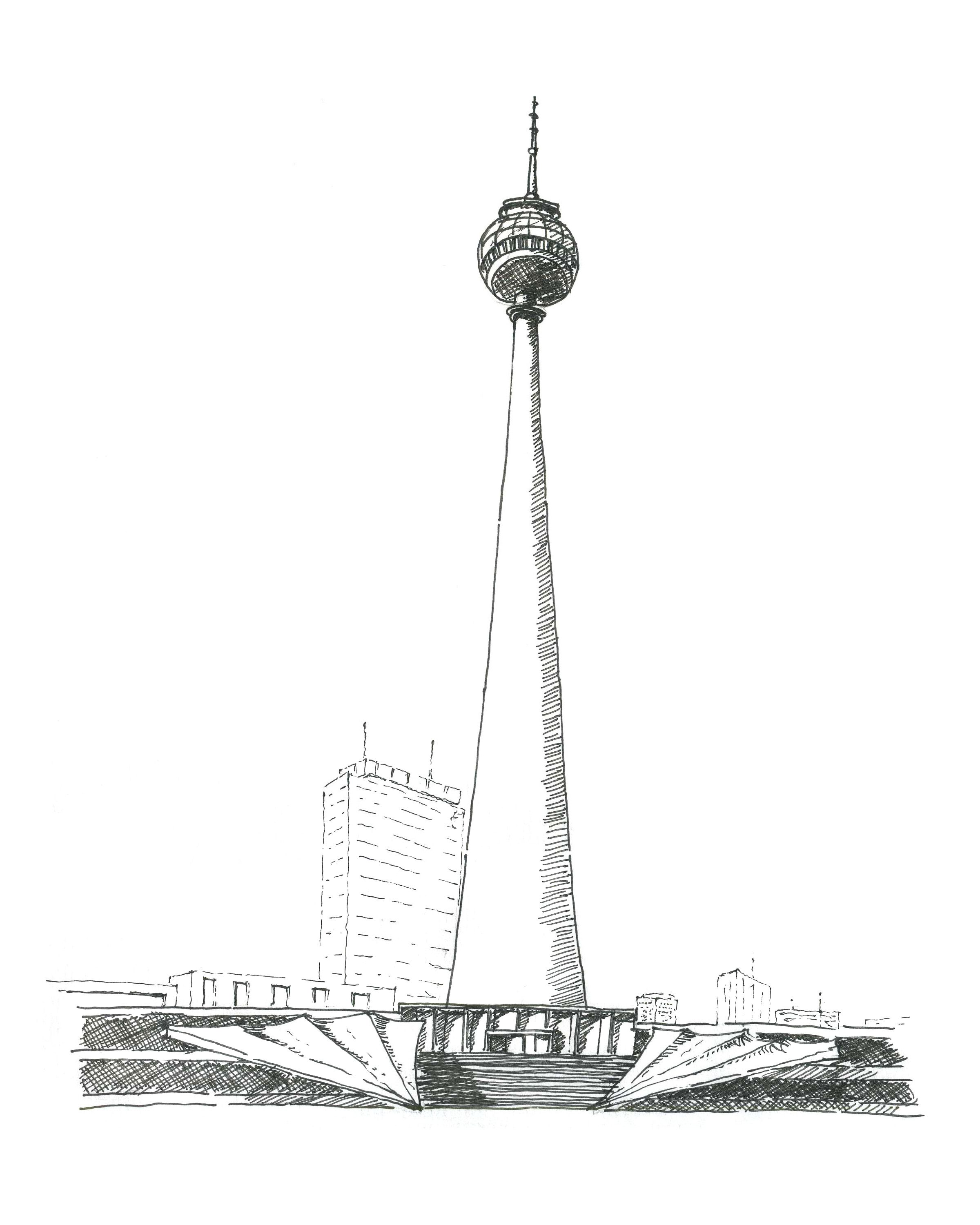 Hand Drawn Perspective Of Berliner Fernsehturm Berlin Germany Spring 2012 Architecture Studio Clemson University P Fernsehturm Berlin Fernsehturm Turm