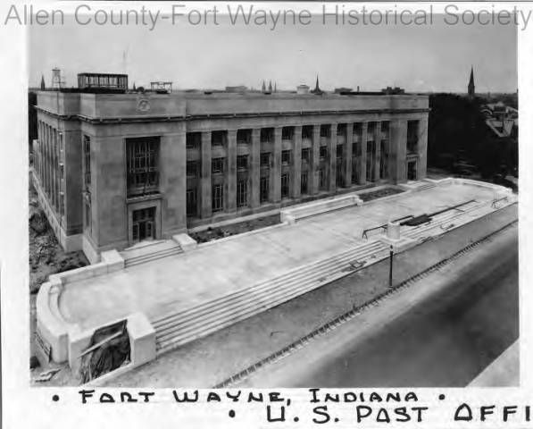 Photograph of the United States Post Office and E. Ross Adair Federal Building, Fort Wayne, Indiana. Completed in 1932 the building also housed the federal courthouse. 1932.