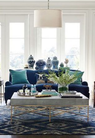 Layers Of Cobalt And Turquoise Living Room