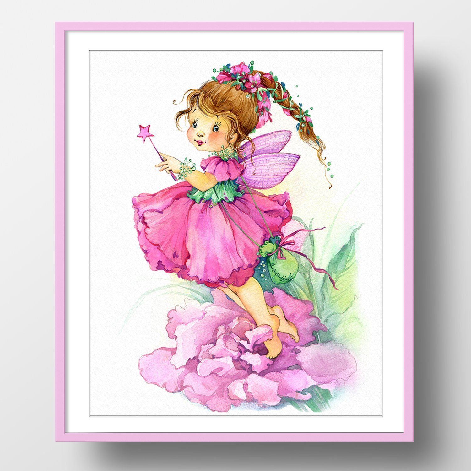 Dots art flower fairy watercolor art print poster x on fine