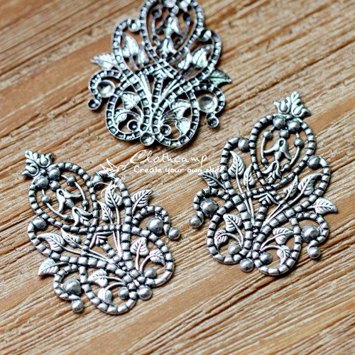 Antiqued Silver  plated RAW brass Filigree  Jewelry Connectors Setting Cab Base Connector Finding  (FILIG-AS-31)