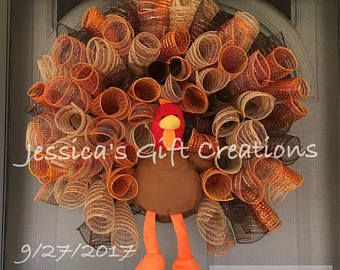 BEST SELLER Made To Order Turkey Mesh Wreath/Thanksgiving Wreath/Burlap/Front  Door