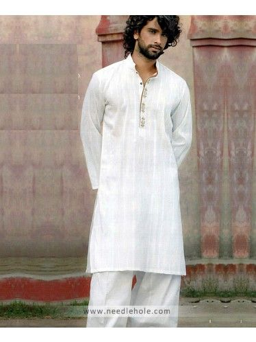 11517a52e2 Cotton Embroidered Shalwar Kameez for Men, Plain Kurta Collar, Off-White