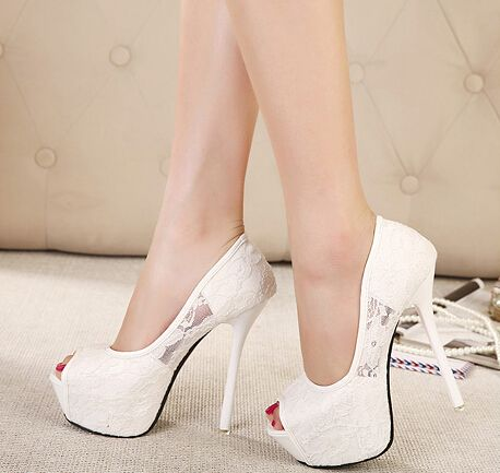 Cheap Women's Pumps, Buy Directly from China Suppliers:     women pumps 2015 fashion lace peep toe high heels ladies wedding shoes platform white party shoes female sapatos fe