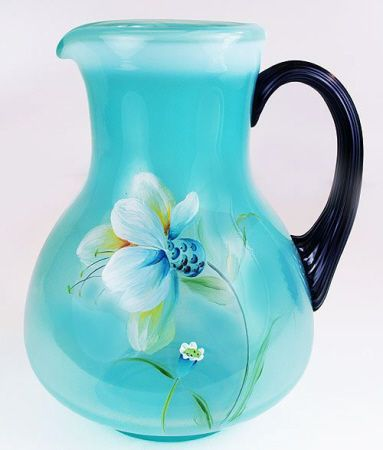 fenton art glass pitcher turquoise w flowers stain glass blown glass vases pitchers. Black Bedroom Furniture Sets. Home Design Ideas
