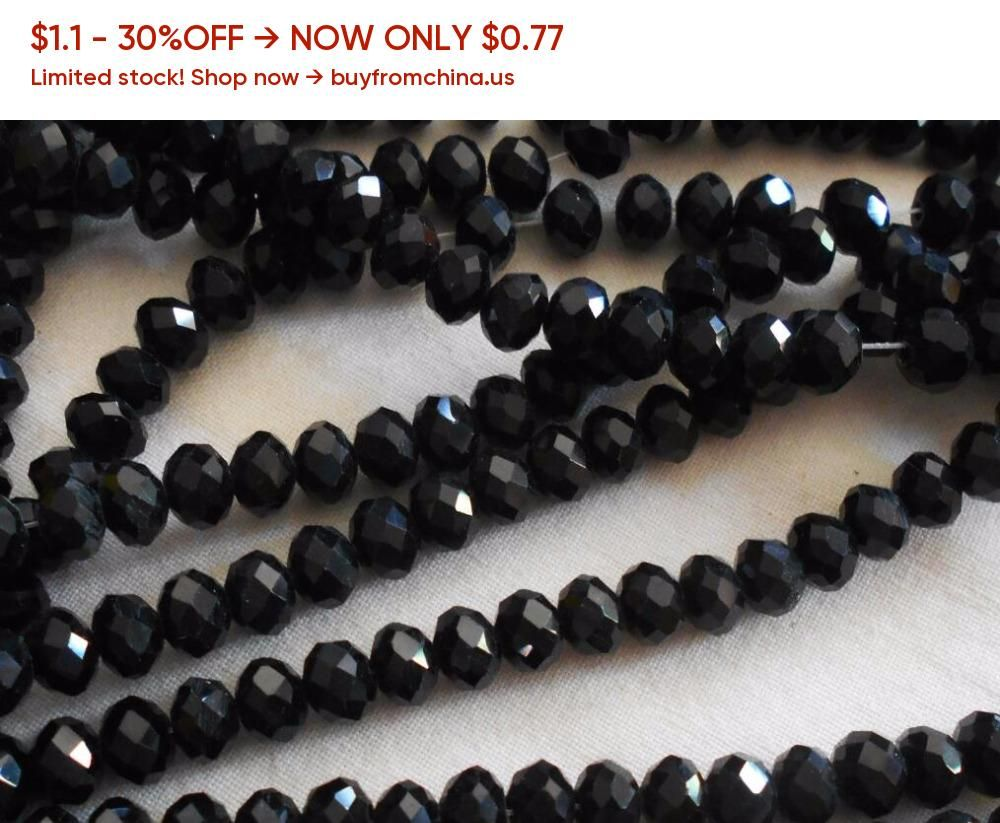 70pcs 6*8mm Black Crystal Gemstone Faceted Loose Beads
