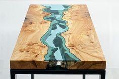 33++ Tisch holz glas fluss Trends