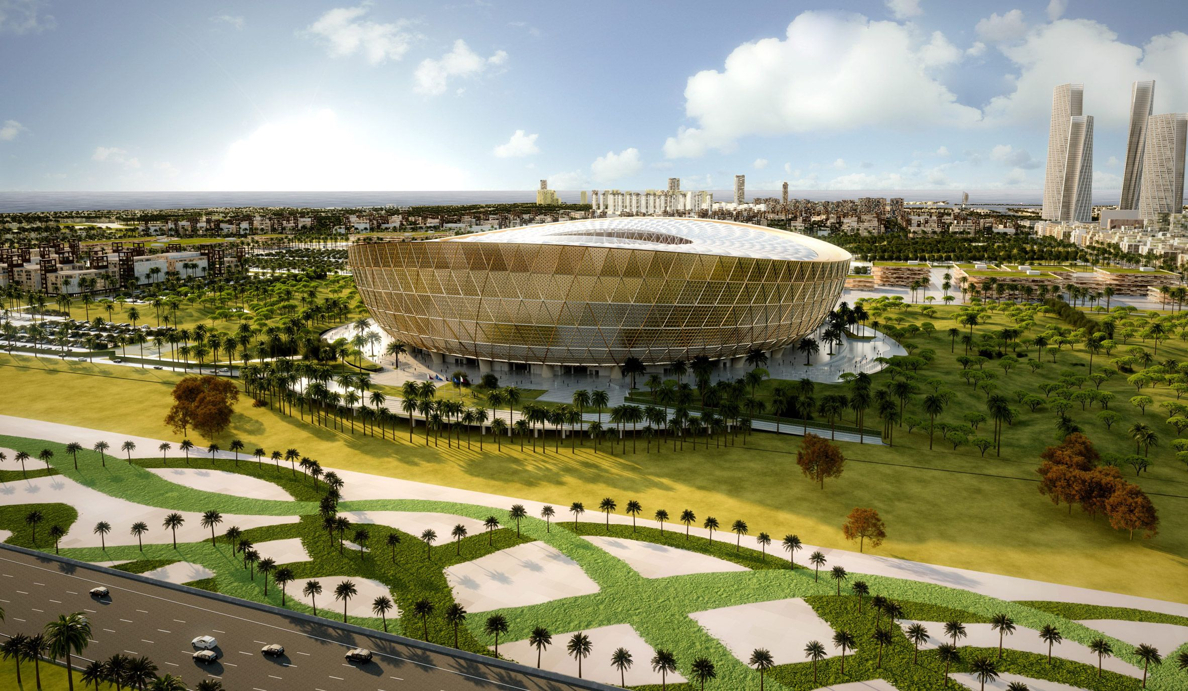 Foster Partners Designs Golden Stadium For Qatar World Cup Final 2022 Fifa World Cup World Cup Final World Cup