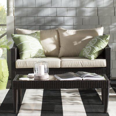 Home Loft Concepts Dragoon 2 Piece Rattan Sofa Set With Cushions | Wayfair