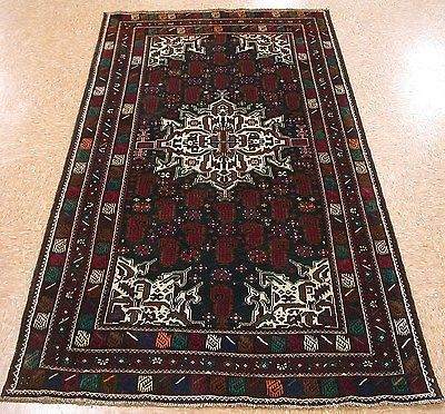 4 X 7 Baluch Tribal Hand Knotted Wool Traditional Black Ivory New Oriental Rug Oriental Rug Rugs Oriental