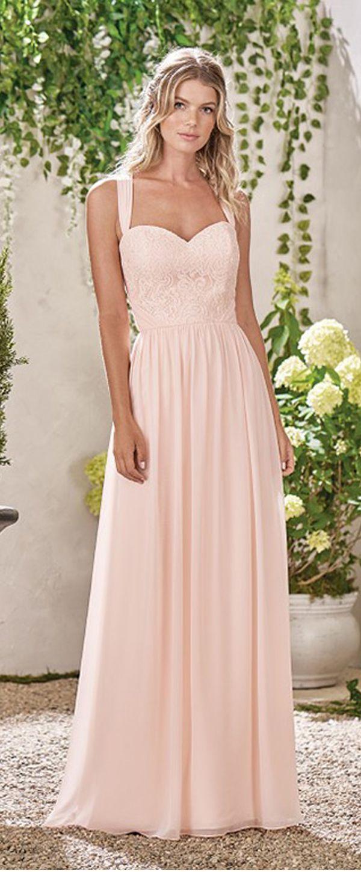 Modest Lace & Chiffon Sweetheart Neckline A-line Bridesmaid Dresses ...