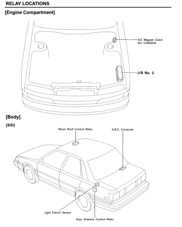 1990 Camry Relay Locations Engine Compartment And Body