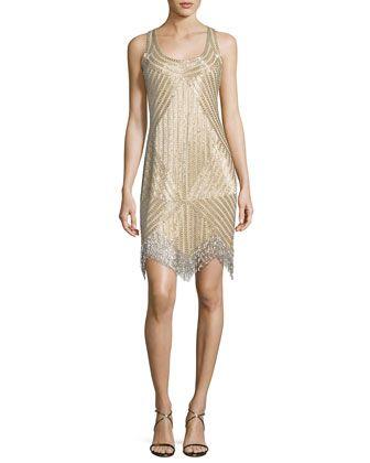 0b85eb57 Beaded Mesh Dress, Light Gold by Aidan Mattox at Neiman Marcus ...