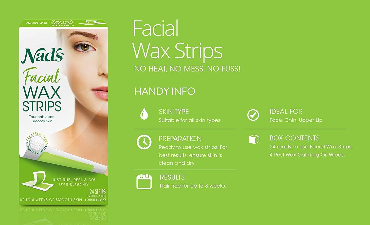 Nad's Facial Wax Strips Hypoallergenic All Skin Types