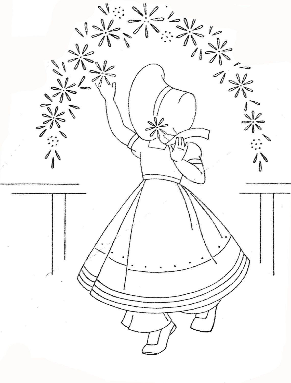 Vintage Hand Embroidery PDF File 970 Four Sunbonnet Girls for Tea ...