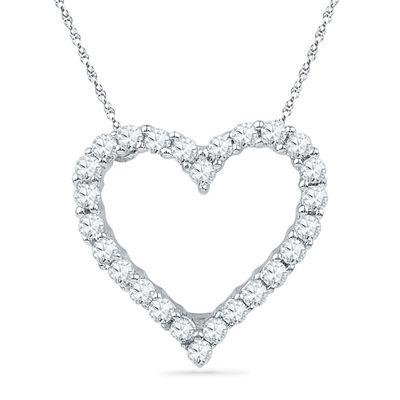c0bbf2bf79de2 1/6 CT. T.W. Diamond Lined Heart Pendant in 10K White Gold | Jewelry ...