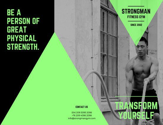 Neon Green And Black Fitness Brochure  Gym Graphics Branding