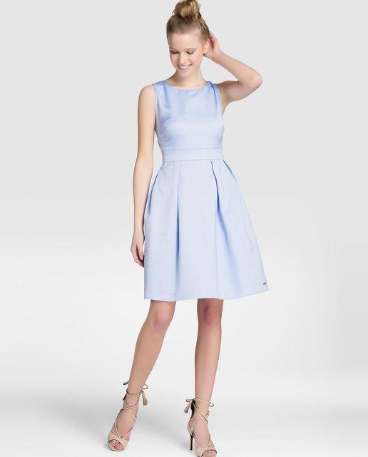 393bf1bc333 Vestido de fiesta de mujer Tintoretto de piqué en azul lavanda ...