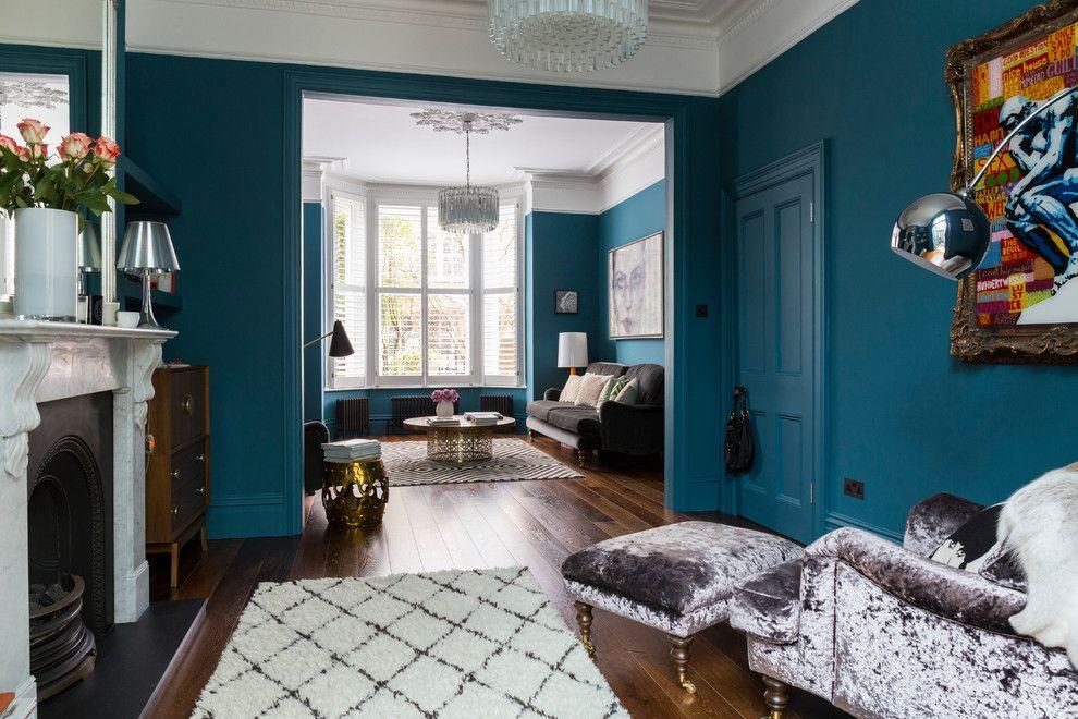 Turquoise Wall Paint With Decorative Window Film Living Room Contemporar Dark Wood Floors Living Room Dark Wooden Floor Living Room Turquoise Walls Living Room