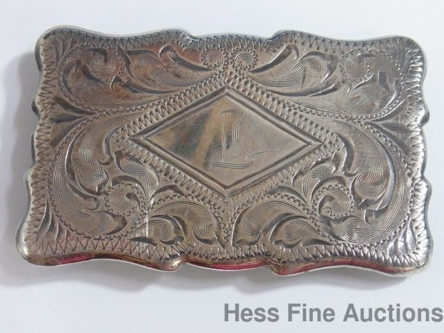 Vintage Men Western Cowboy Male Leather Belt Buckle Metal Floral Engraved
