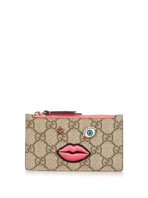 Gucci Face-embellished GG Supreme cardholder