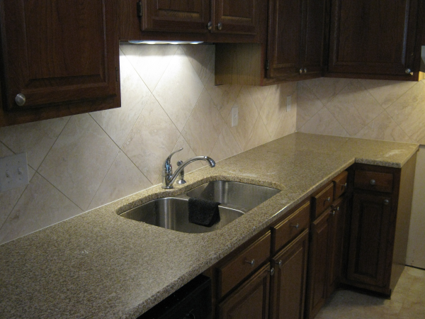 Simple Large Tile Backsplash