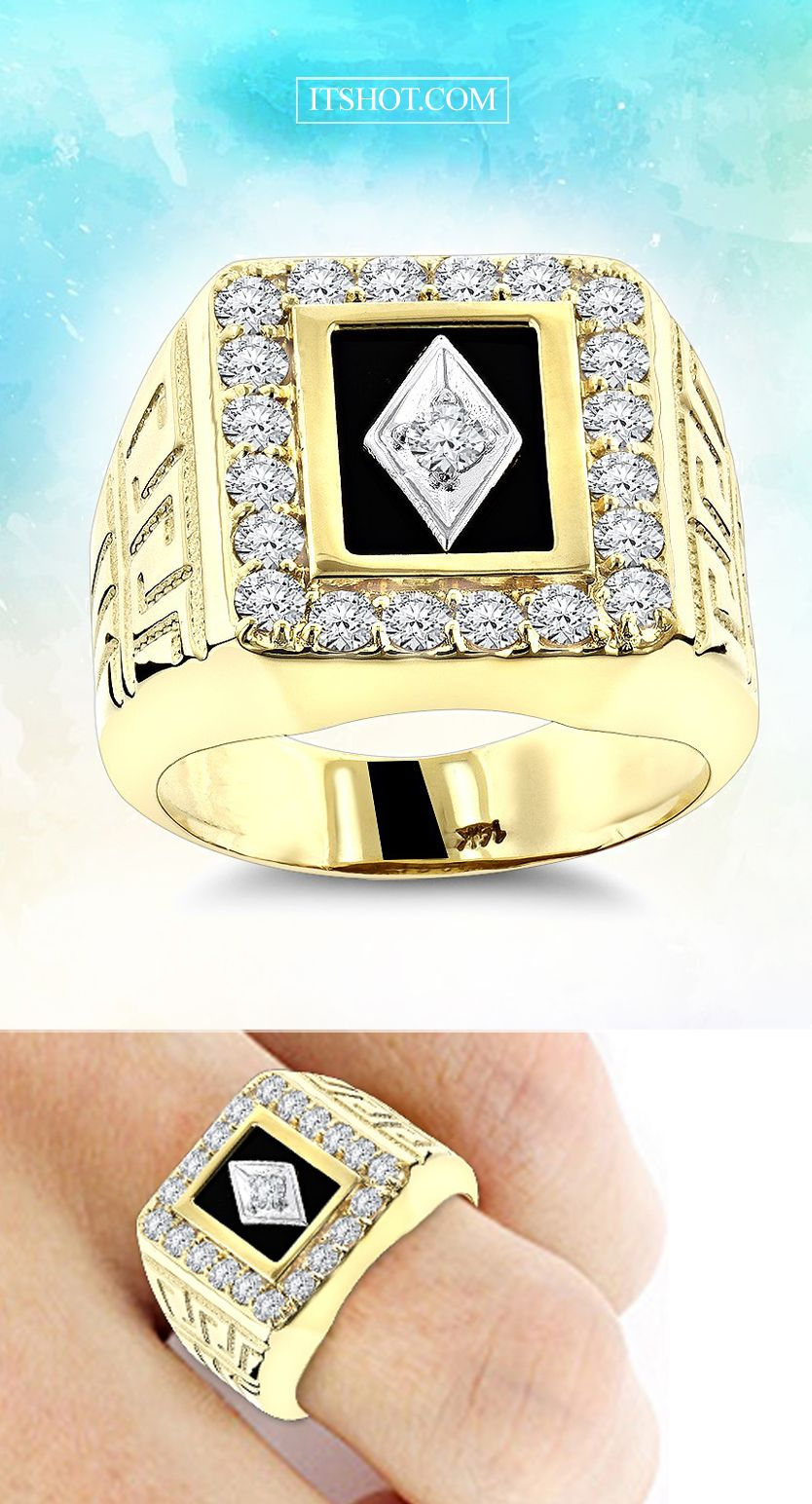 5f455cb40326d2 BLACK ONYX AND DIAMOND RINGS 14K GOLD MENS RING 1.68CT | If ItsHot ...