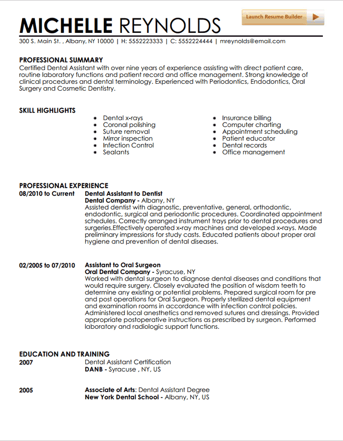 dental assistant resume example