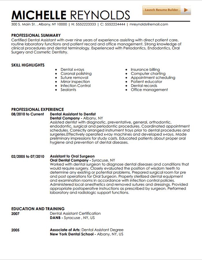 Dental Resume Example