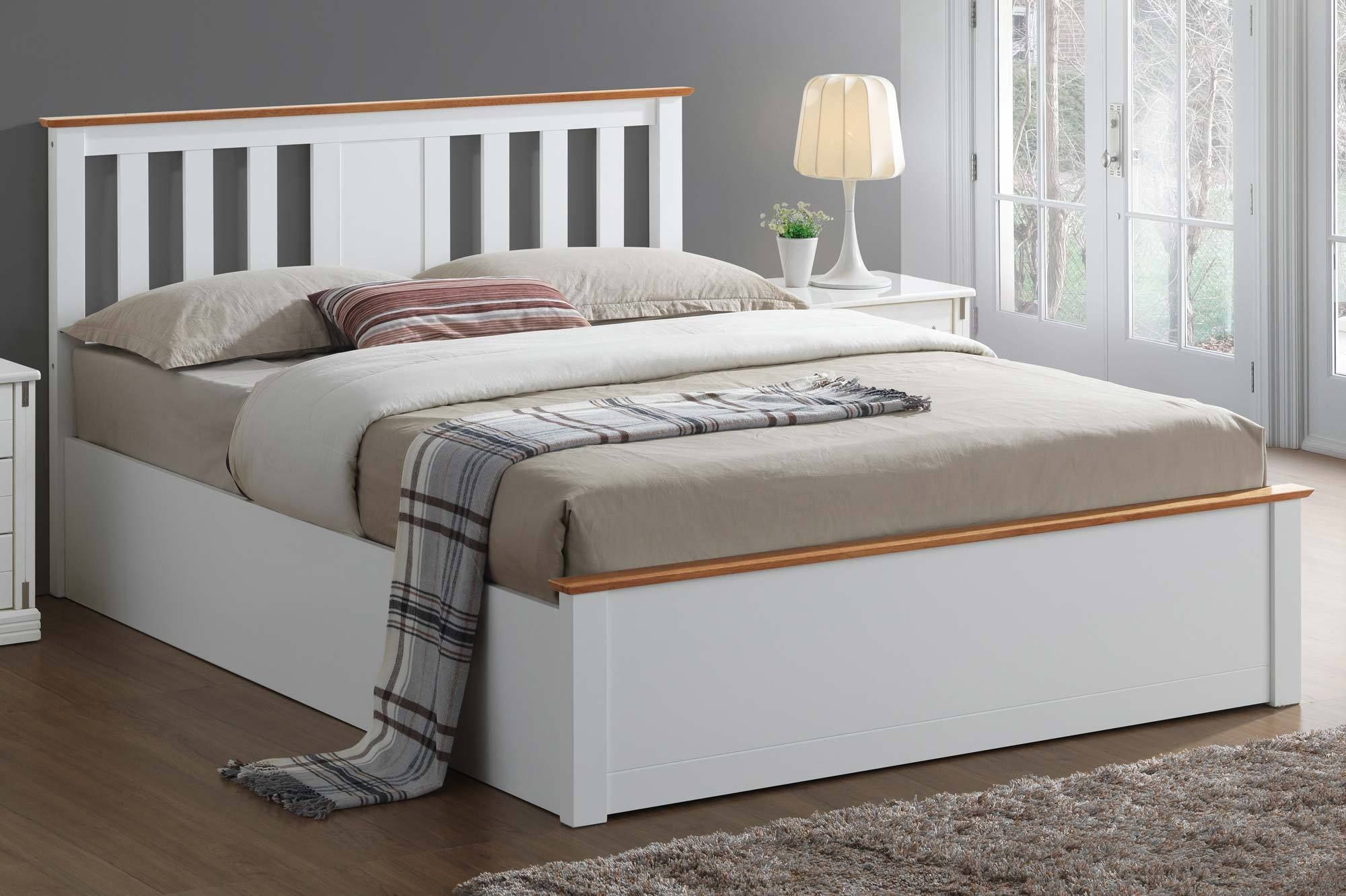 4ft6 Bed Frame Chester White Oak Ottoman Storage Bed Frame 4ft6 Double In