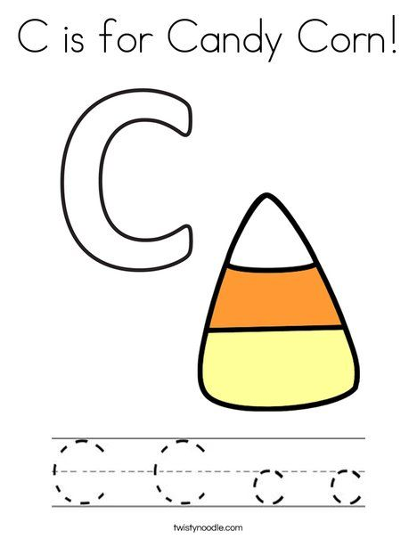 C is for Candy Corn Coloring Page - Twisty Noodle | Candy ...