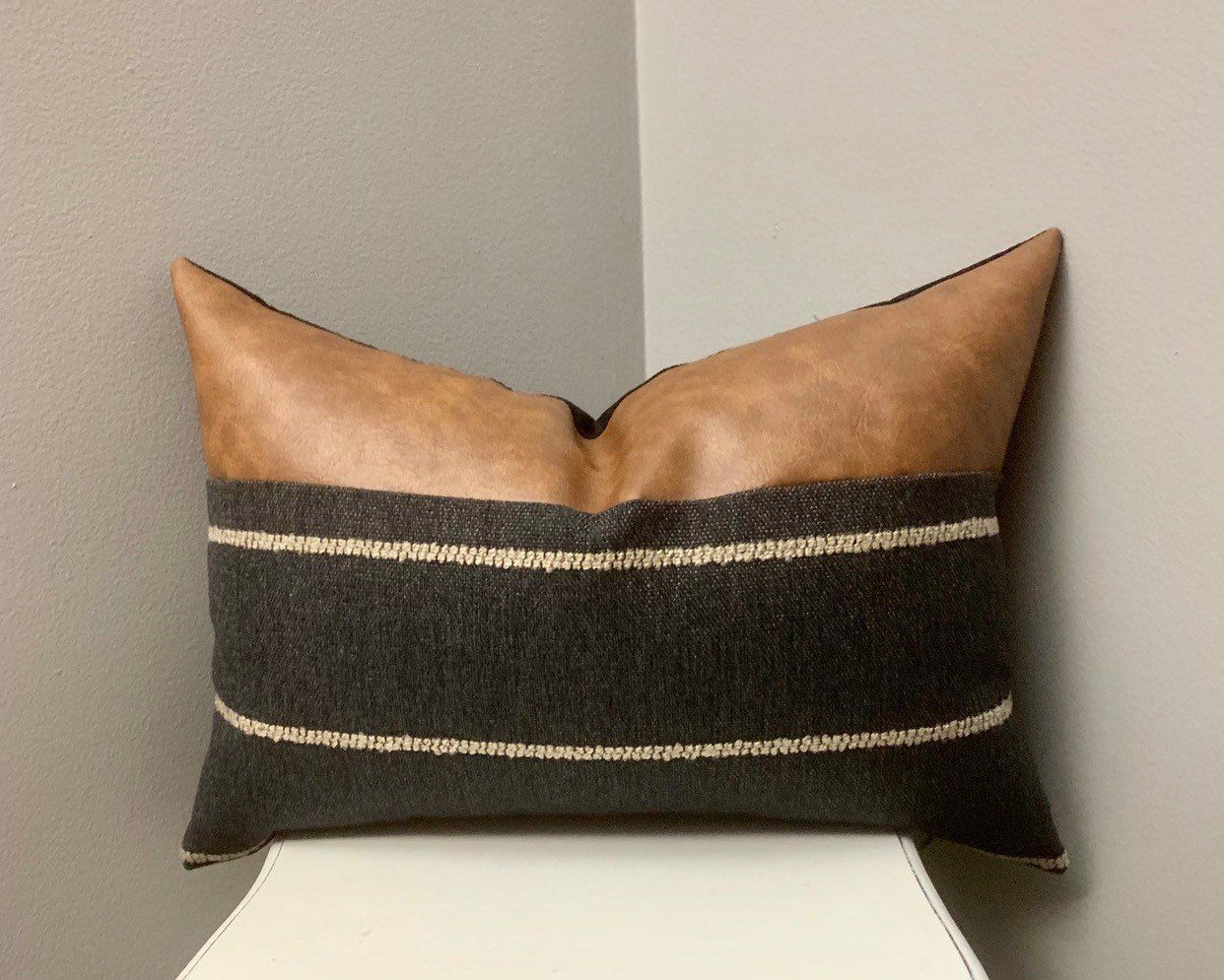 Industrial Collection Gorgeous Dark Denim Blue Taupe Stripes W Cognac Faux Leather Top Panel Pillow Cover 14x20 In 2020 Unique Throw Pillows Aztec Pillows Couch Pillows