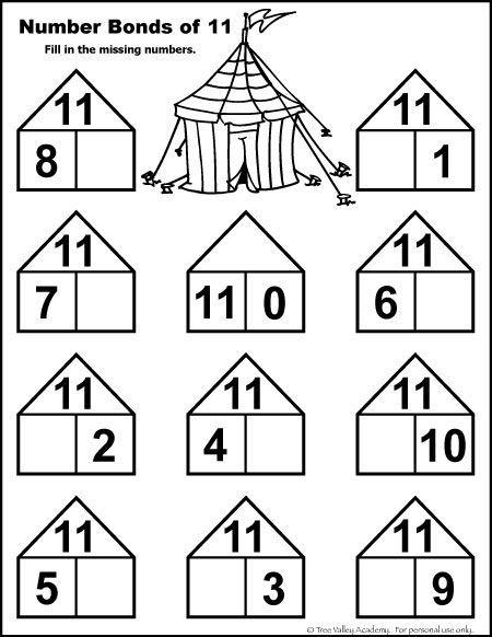 Number Bonds To 11 Free Math Worksheets Math Worksheets Math Printables Kids Math Worksheets