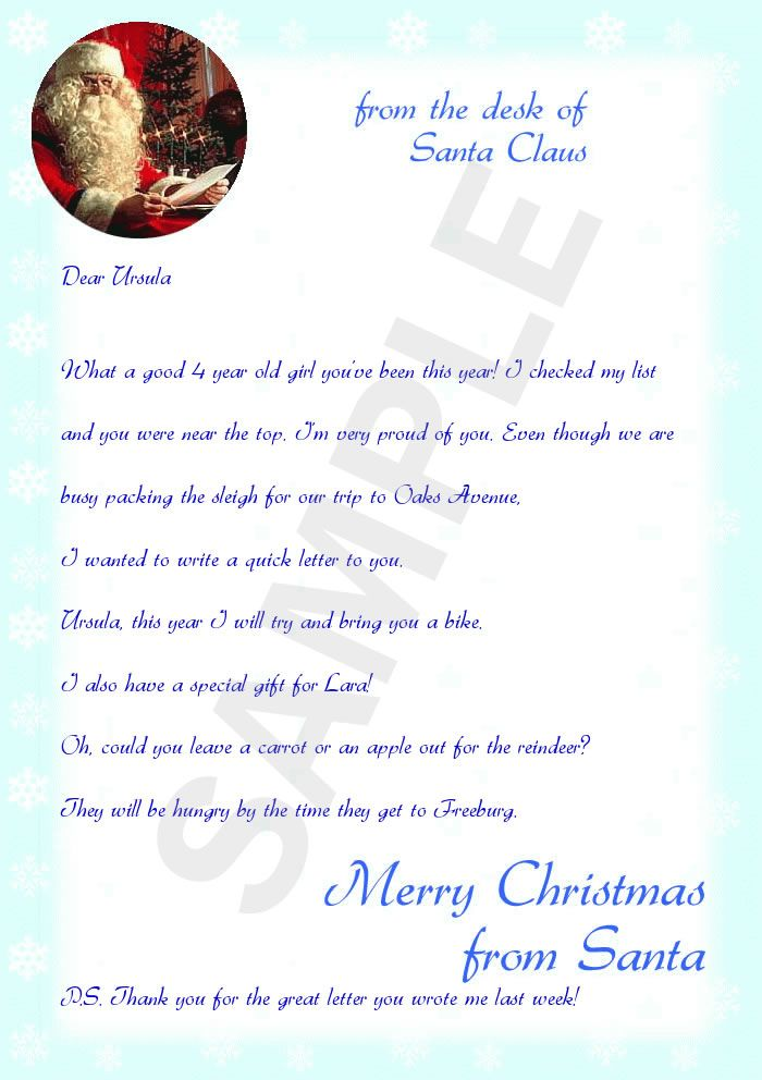 Sample Letter From Santa  Santa    Free Printable