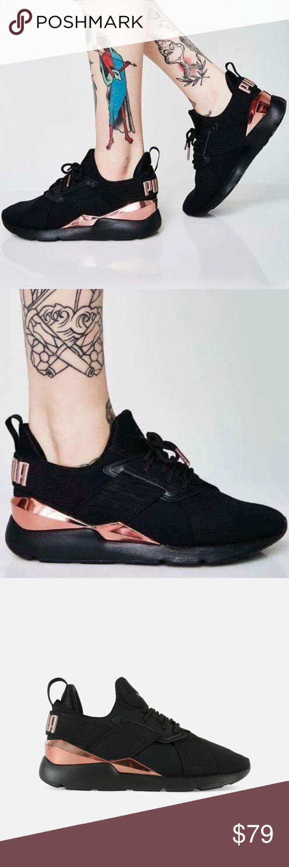6a37ee643dc PUMA Muse Metal Sneakers NIB! In Black Rose Gold Break loose. The Muse Metal  is taking charge and taking names with a running-inspired