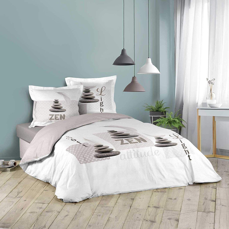 Housse De Couette Softizen Blanc Taupe 220x240cm 2 Personnes 100 Coton En 2020 Parure De Couette Housse De Couette Decoration Maison