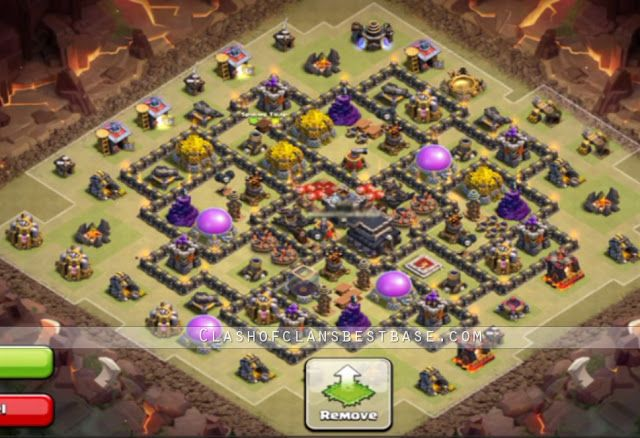 Town hall 9 best war base with 2 Air Sweepers - Clash of Clans Best Base Layout, Attacking Stratey, Cheats and Tools