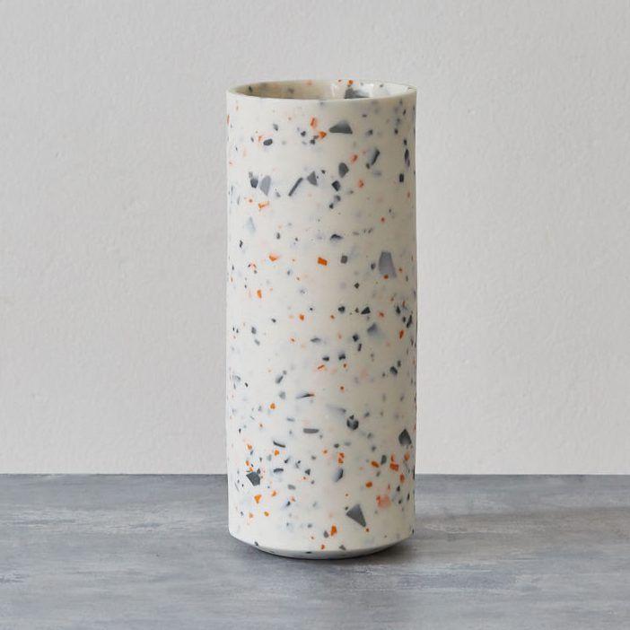 Large Grey And Orange Vase By Sevak Margarin Terrazzo Style Vase