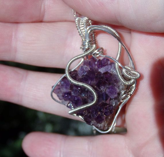 Amethyst crystal cluster wire wrapped sterling by GemCrystalDesign