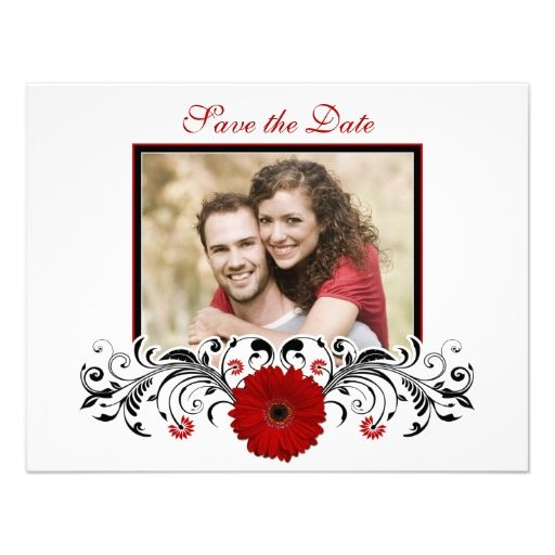 Red Gerbera Floral Save the Date Card Announcements