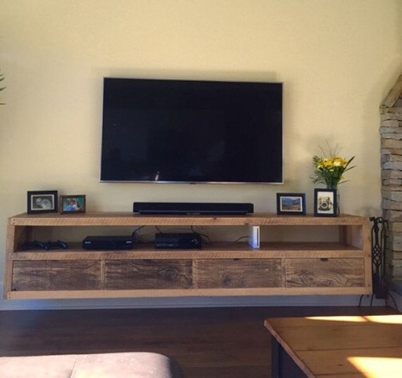 Floating notched leg media console tv stand home - How high to mount tv in living room ...